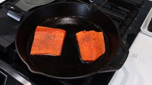 Heat Skillet and Add Salmon