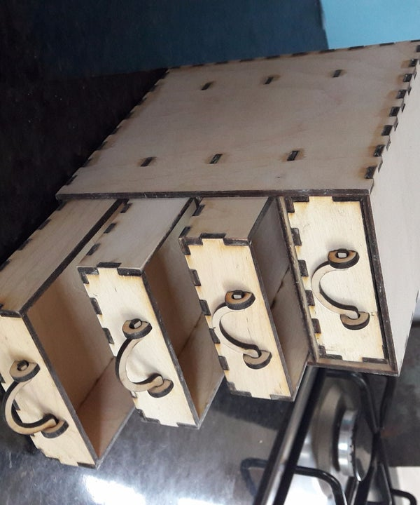 CNC Laser - Full Set of Plans for a Box of 4 Mini Drawers.