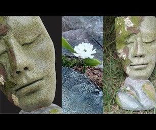 DIY Antique Concrete Heart & Face Sculpture Idea for Garden Decoration  Stone Face  Mask for Lawn.