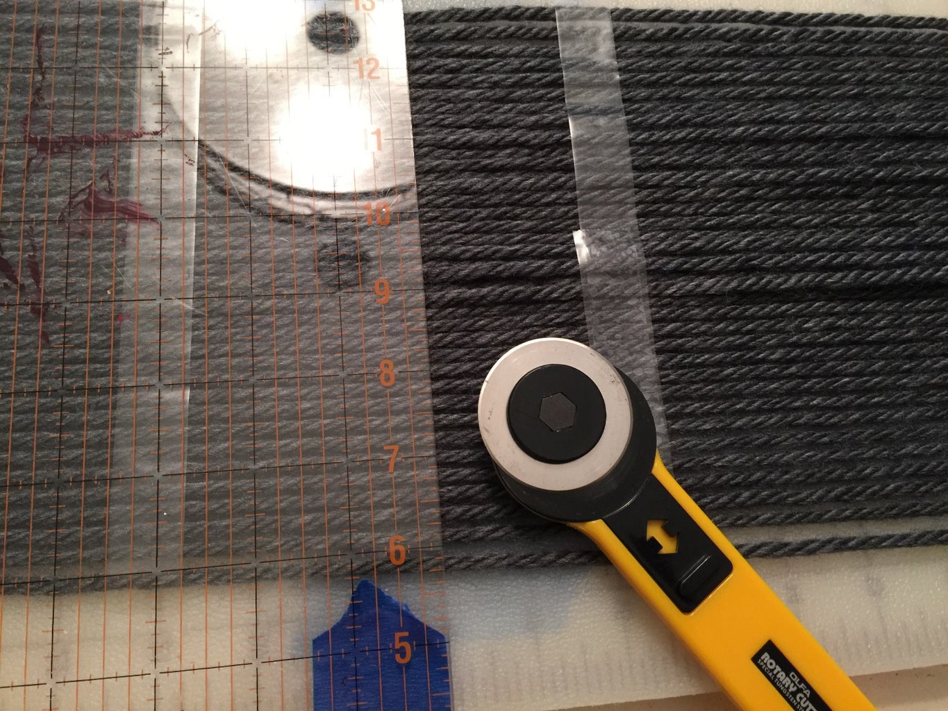 Once Wrapped Add Strips of Tape on Each End, Over the Center, Turn the Cutting Board Over, and Add Sticky Tape to the Left & Right of Center.