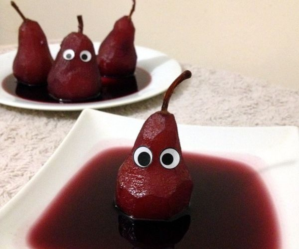 Ghostly Poached Pears in Red wine
