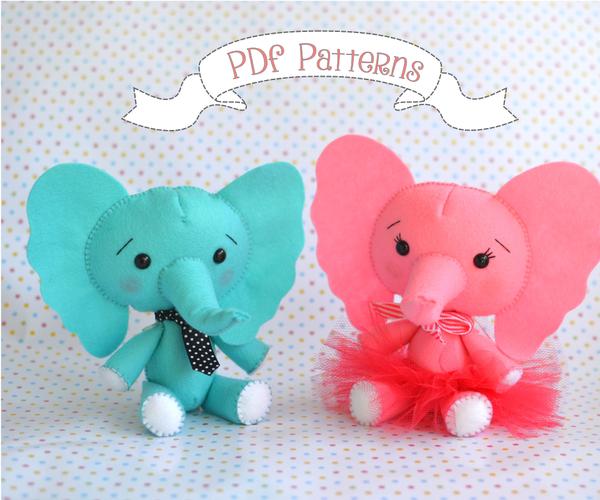 Felt Elephants - Boy and Girl