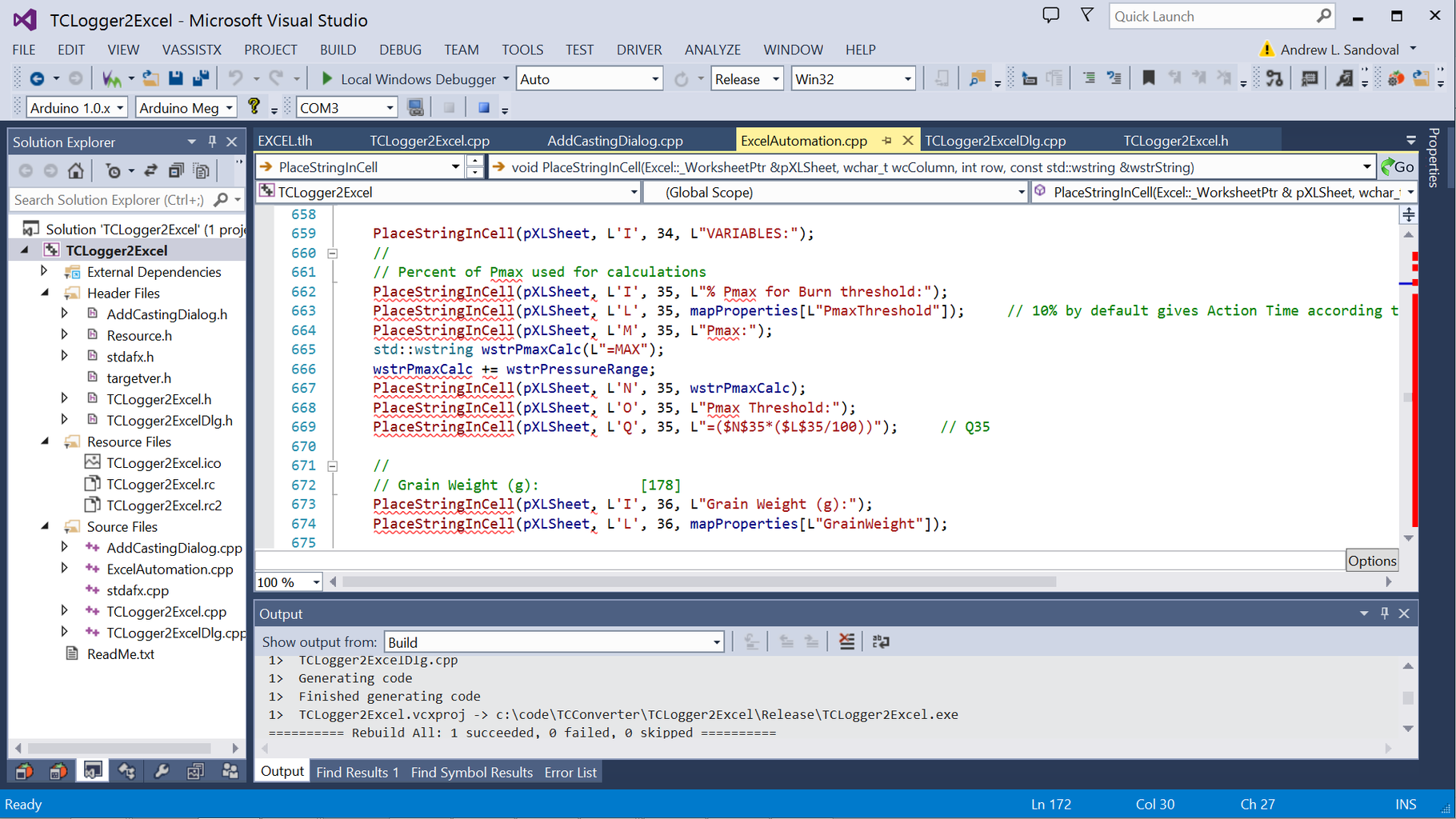 C++ Automation of Excel...