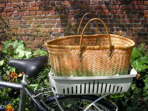 Local Shopping by Bike With Half a Cat Carrier-basket