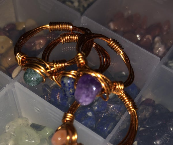 Glass Bead Wire Rings
