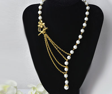 How to Make a Simple Tibetan Style Pearl Stranded Necklace With Multiple Gold Chains Linked