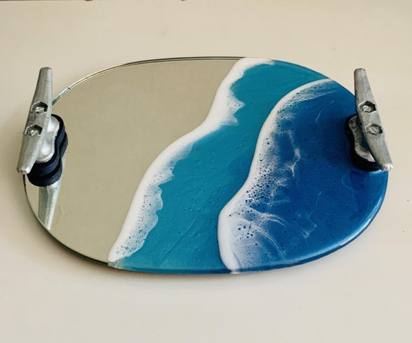 Resin Ocean Mirror Tray With Dock Cleat Handles!