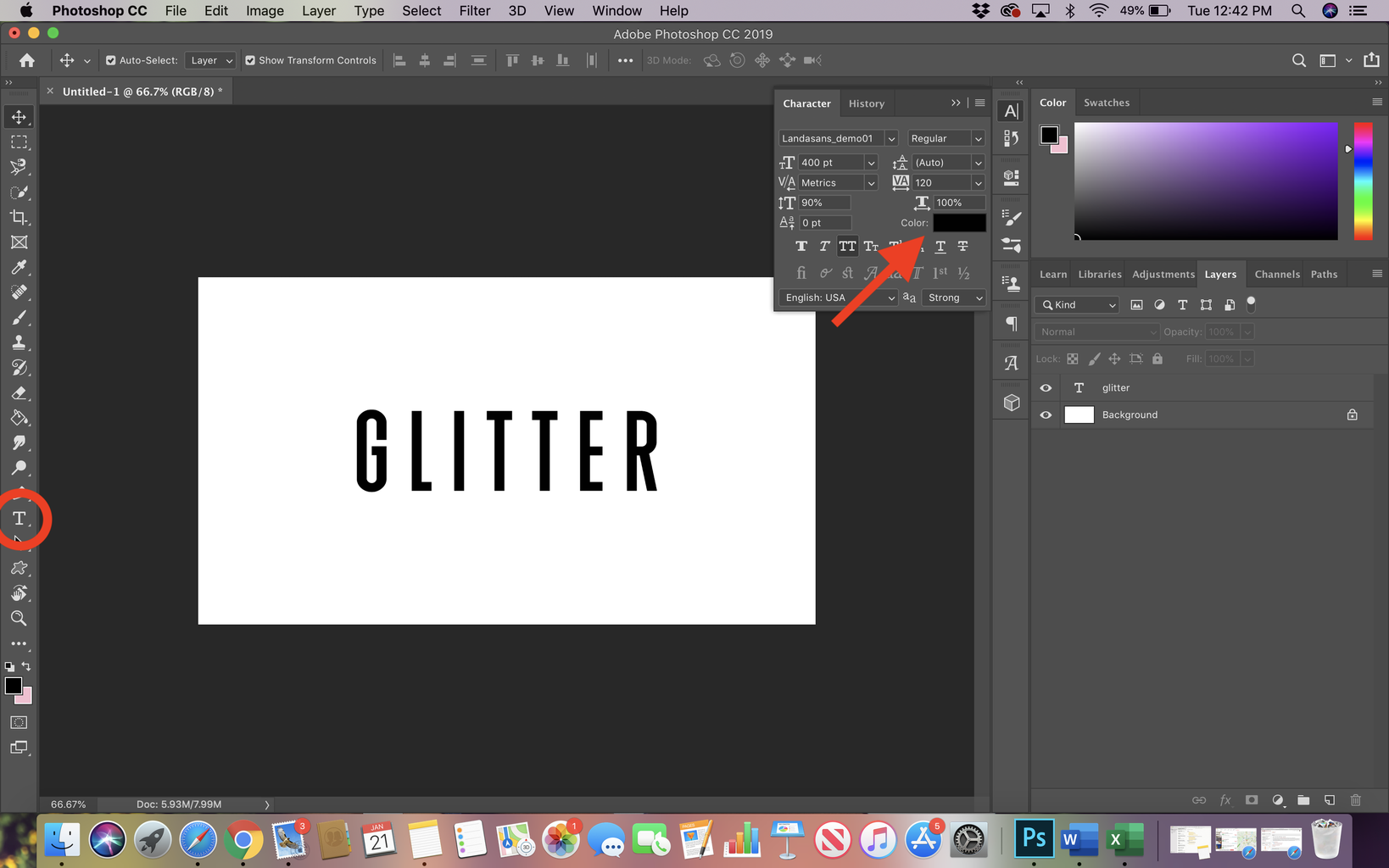 Type Out Word Needed in Glitter Font