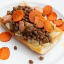 Delicious Lentil Toast From Canned Lentils With Sausage