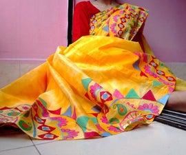 Customizing Sari With Acrylic Paint.