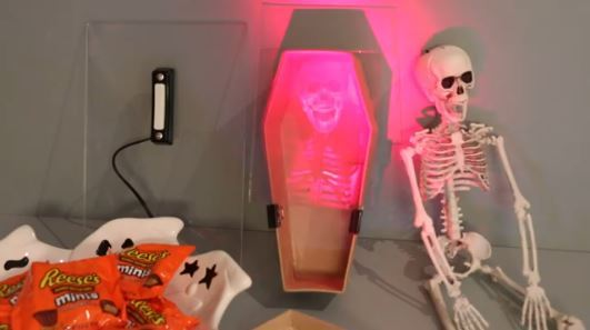 Push Doorbell... Thunder...  Skeleton Hologram!