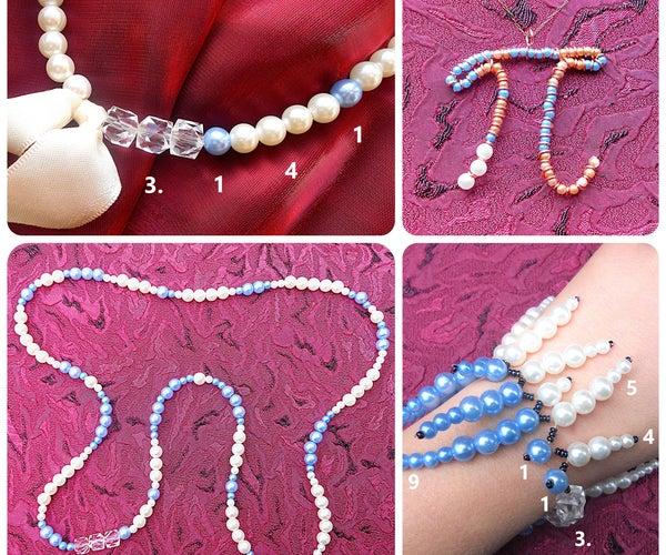 Pi-Beaded Jewelry: Necklace, Bracelet and Pendant