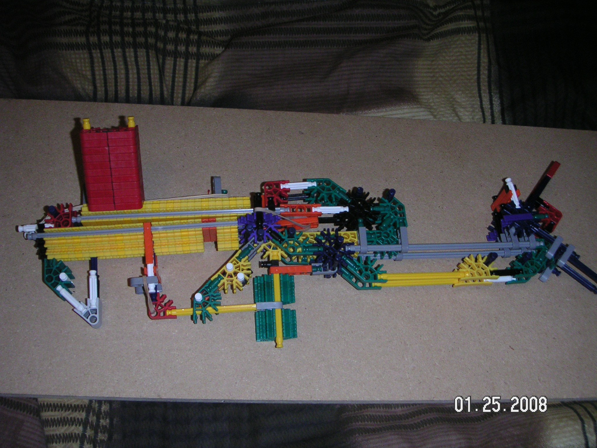 Knex rifle that uses a slide
