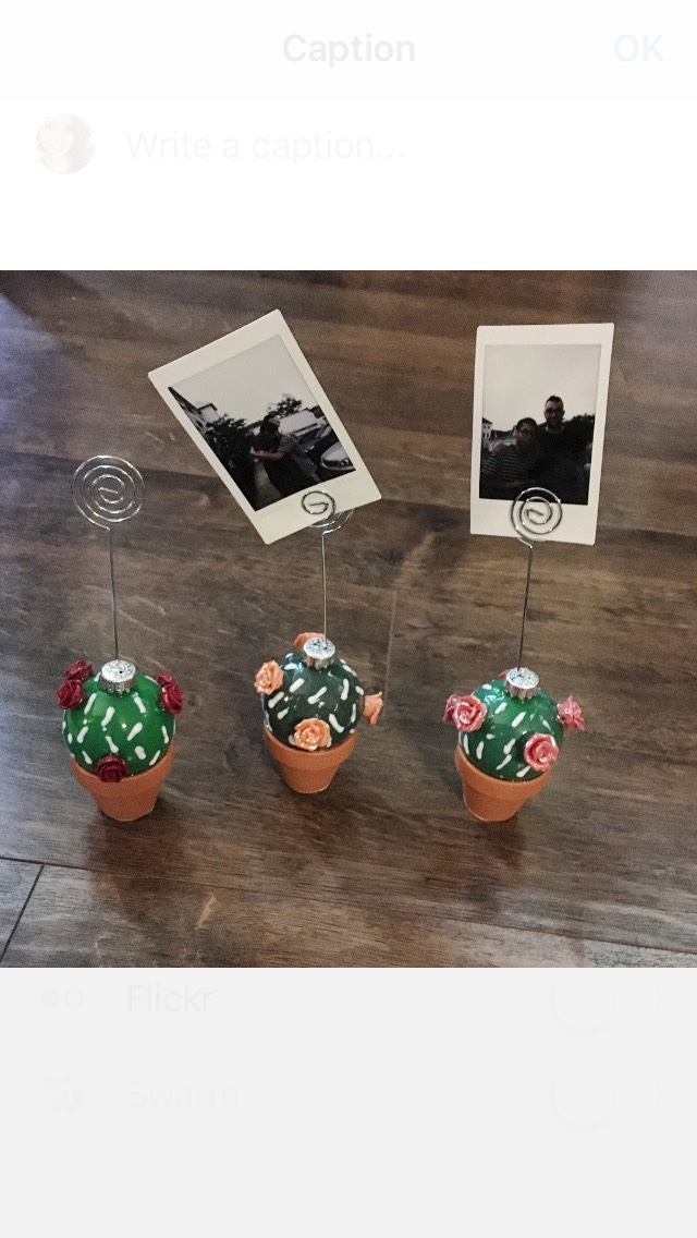 Cacti Photo Holders/Wall Hanging (using Christmas Ornaments)