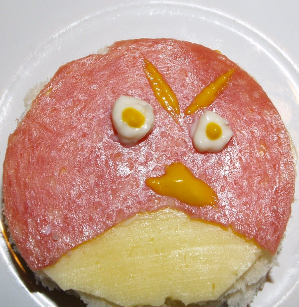 Angry Birds Open Face Sandwich With Common Ingredients
