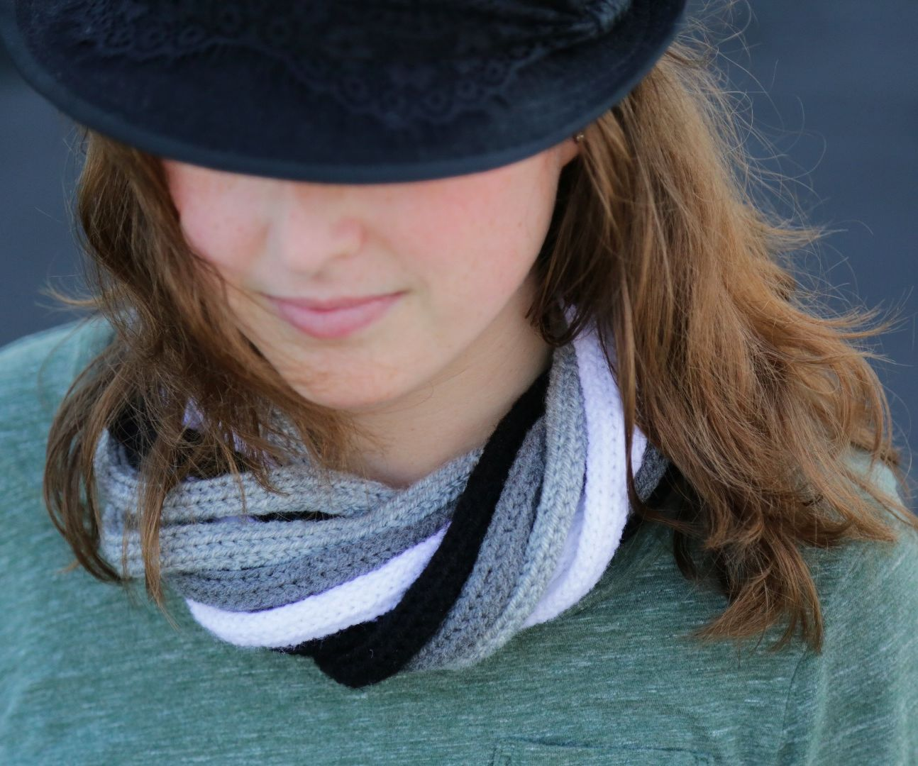Knit Infinity Tube Scarf