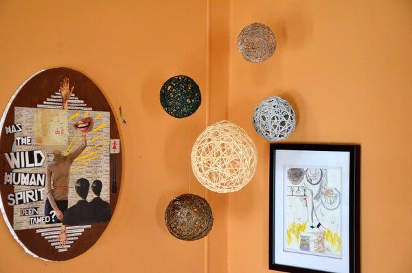 Hanging Yarn Ball Art
