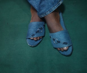 Homemade Denim Slippers  (sliders)