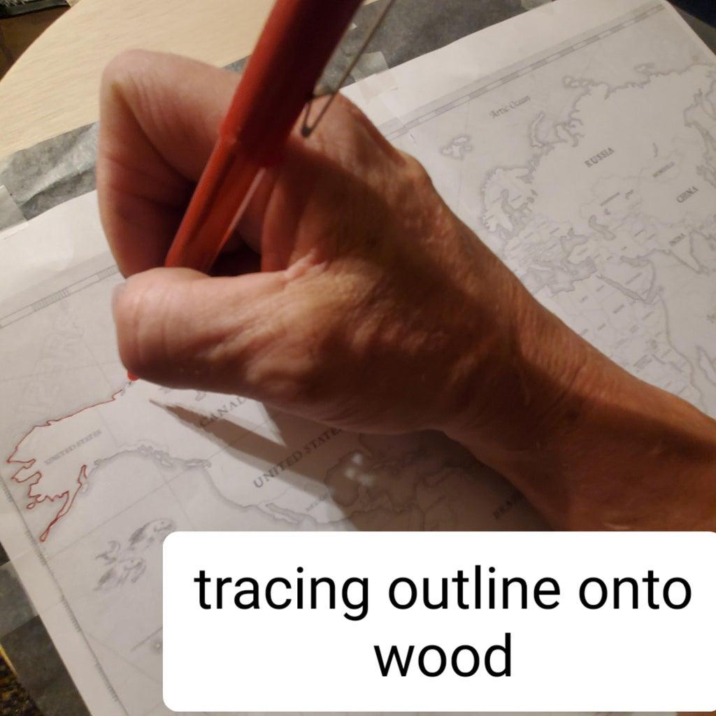 Start Tracing Image Onto Wood.