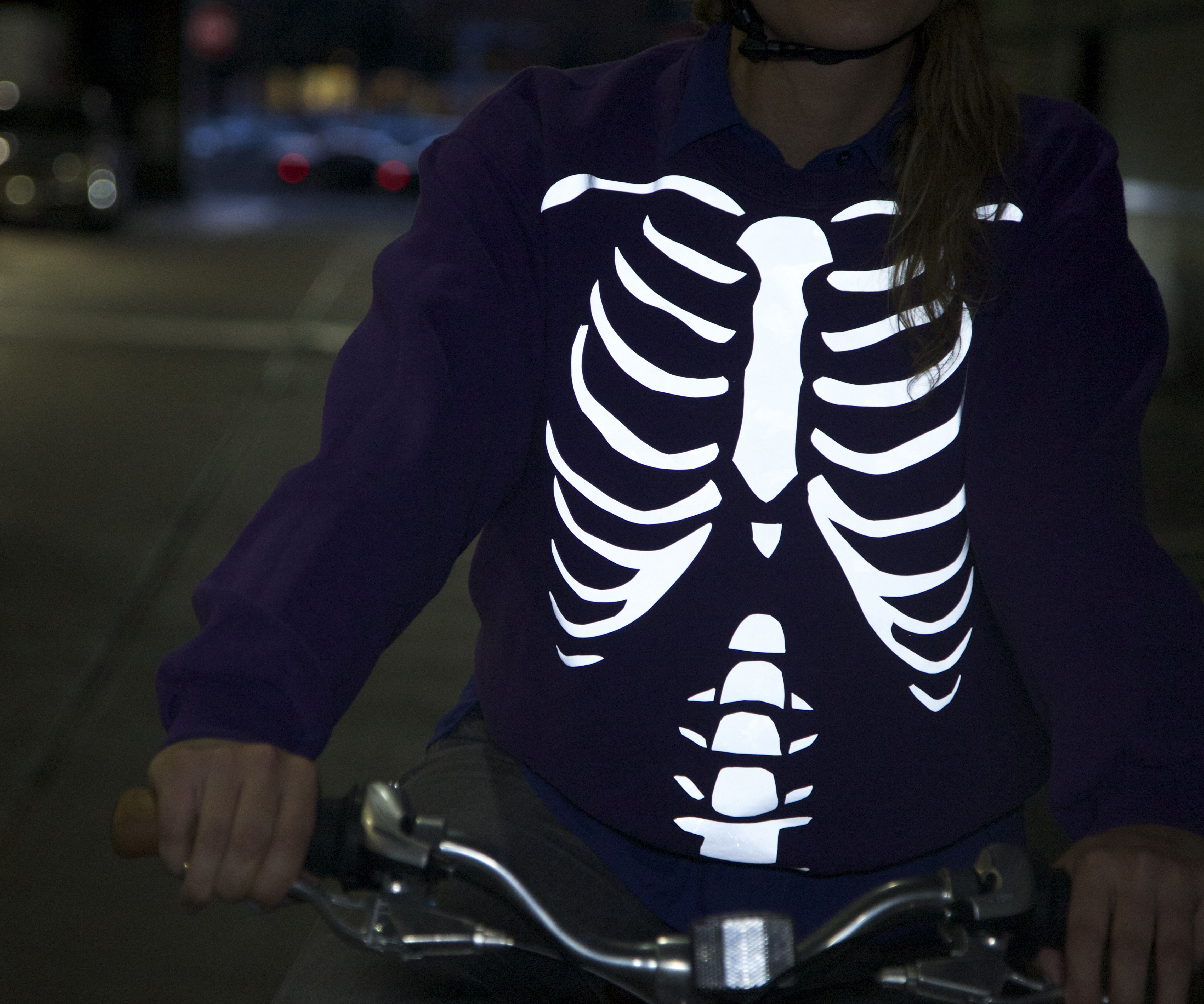 DIY Reflective Cycling Sweatshirt - Skeleton and Japanese Demon