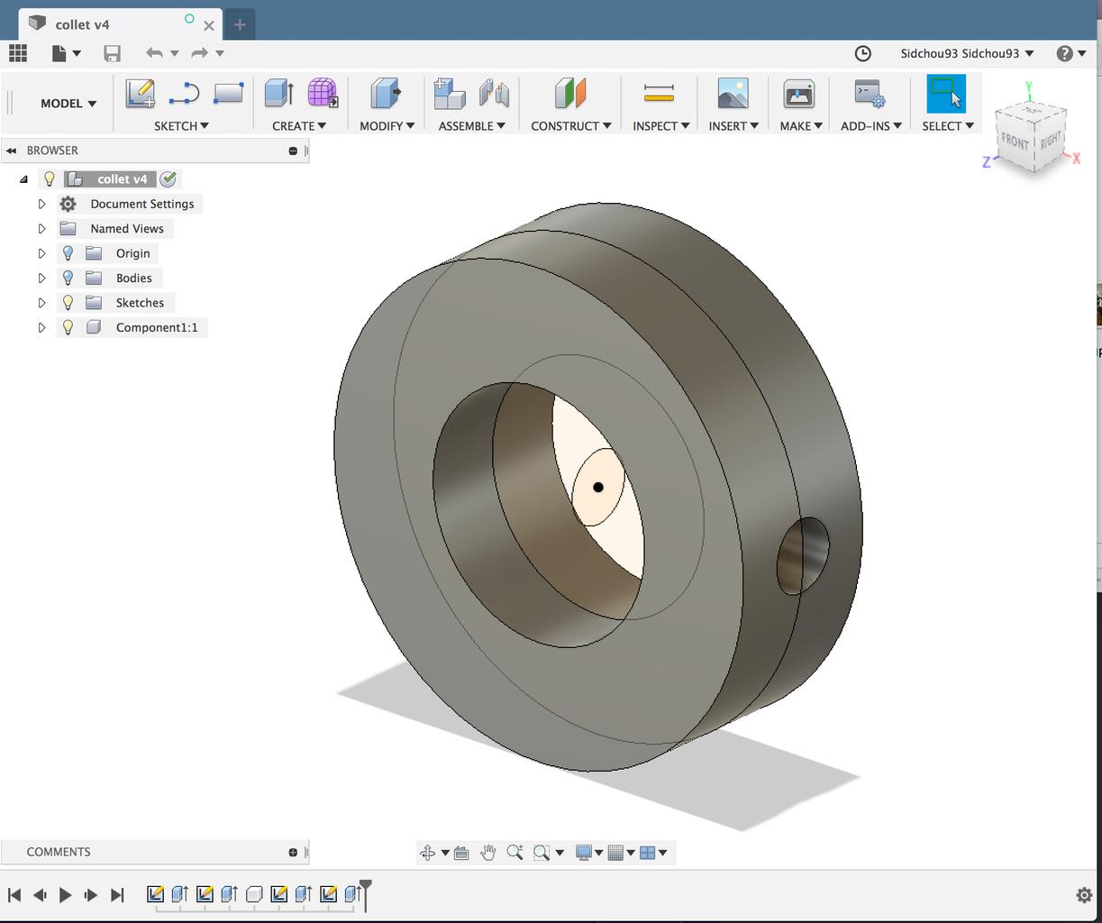 Model on Autodesk Fusion 360