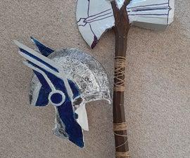 Cardboard Stormbreaker and Thor:Ragnarok Helmet
