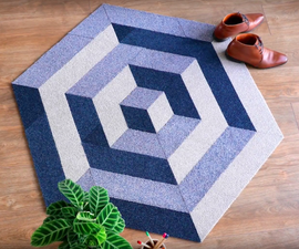 Recycled DIY Floor Rug From Left Over Carpet Tiles