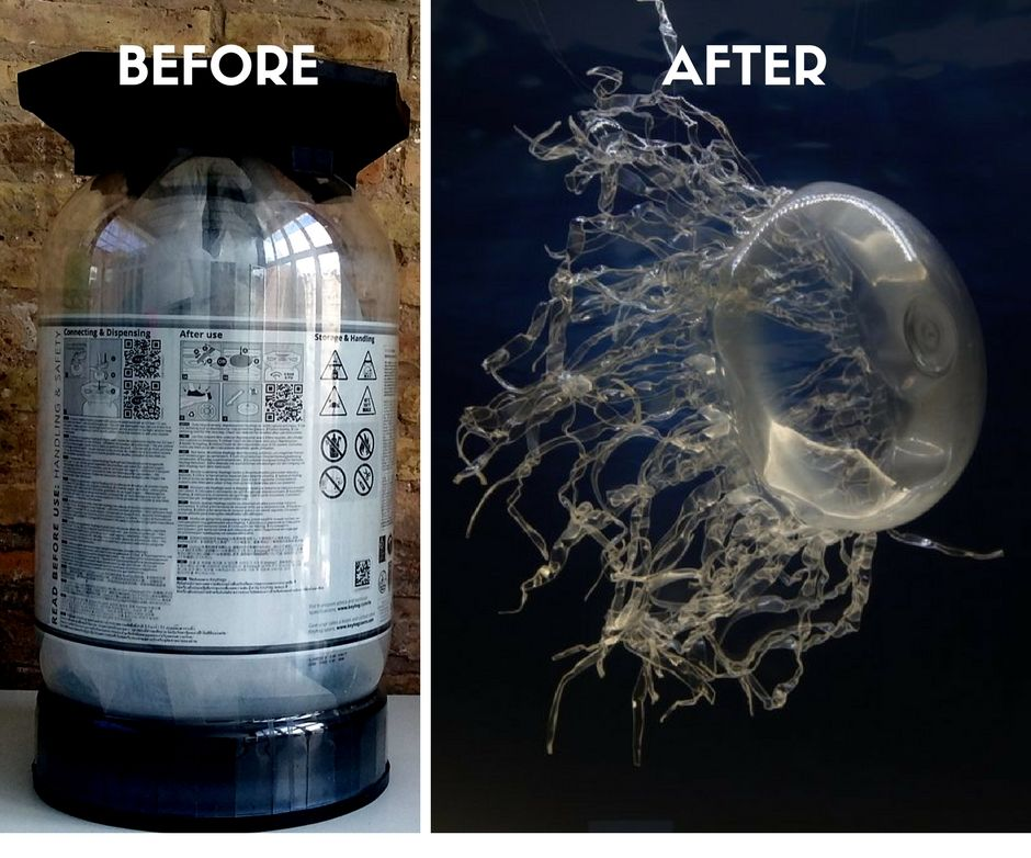 Jellyfish Out of Recycled Plastic Barrel