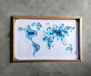 Topographic World Map Art