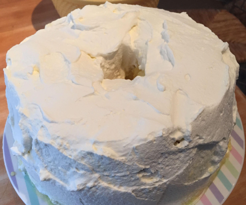 Homemade Angel Food Cake with Custard & Whipped Cream