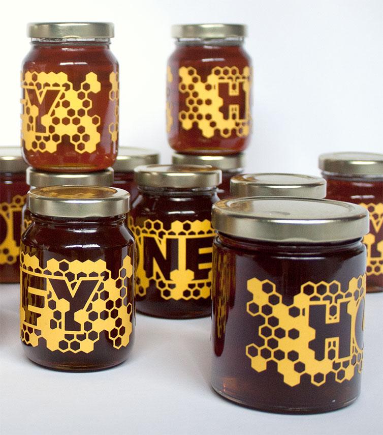 Laser-cut Honey Labels