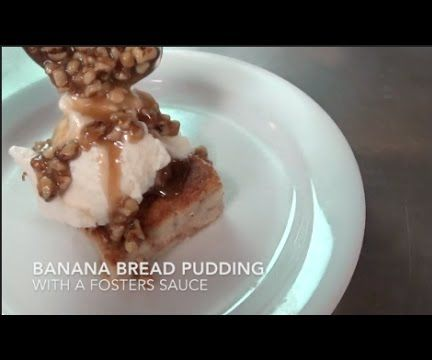 Banana Bread Pudding With a Foster Sauce