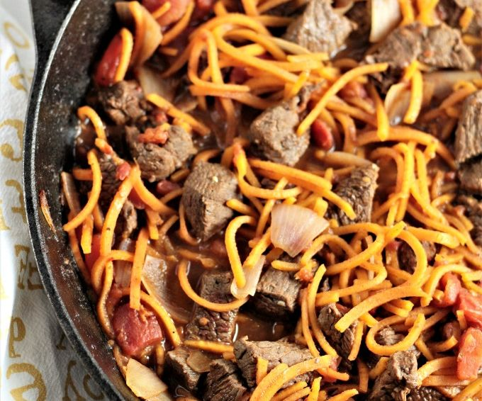 Skillet Beef Tagine with Spiralized Butternut Squash