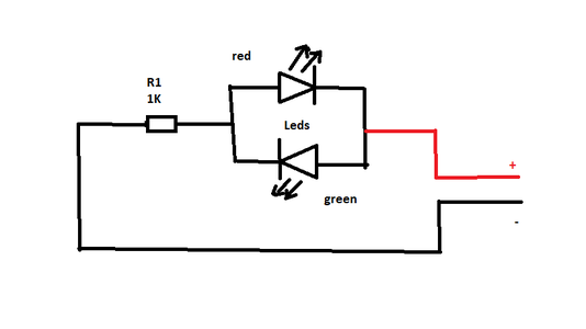 Polarity Tester Using Two LEDs and a Resistor