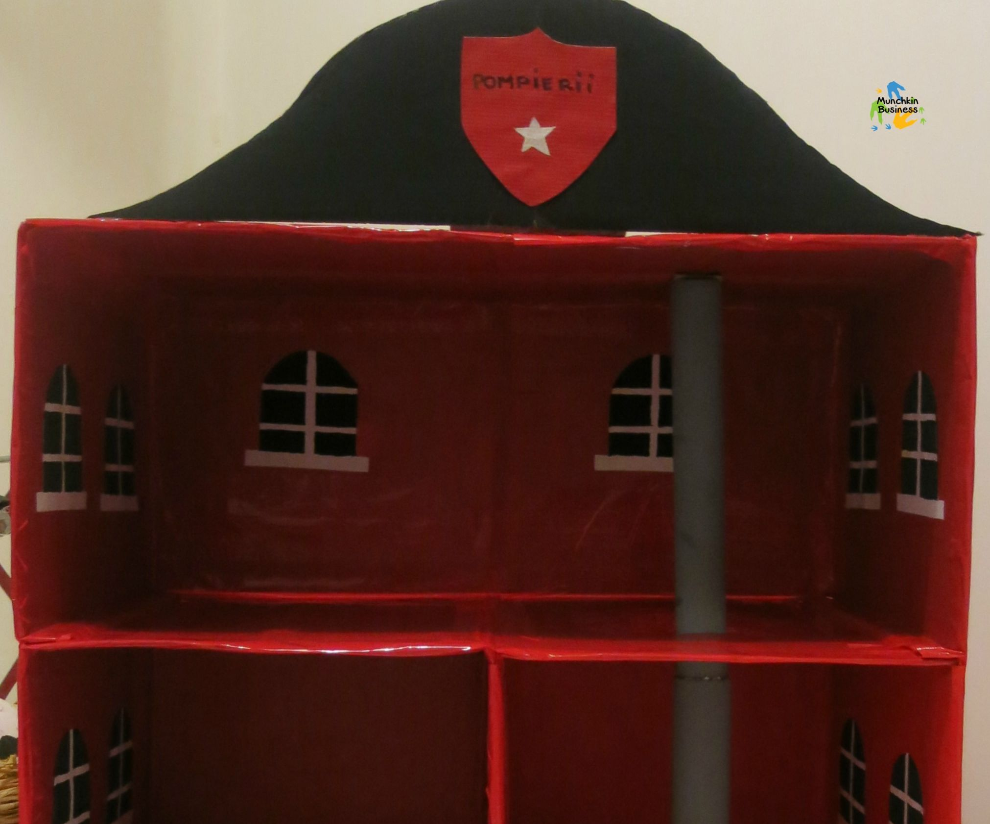 DIY Fire Station toy from recycled boxes