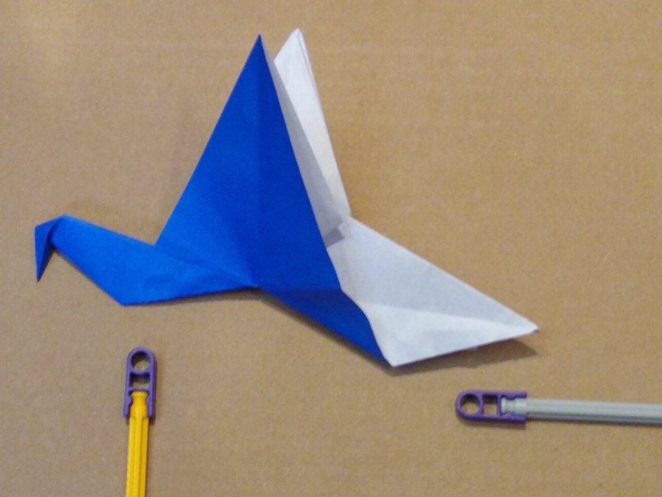 Attach Origami Flapping Bird to the Origami Support Frame