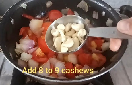 Add Dried Red Chillies and Cashews