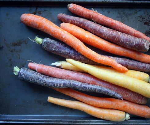 Roasted rainbow carrots