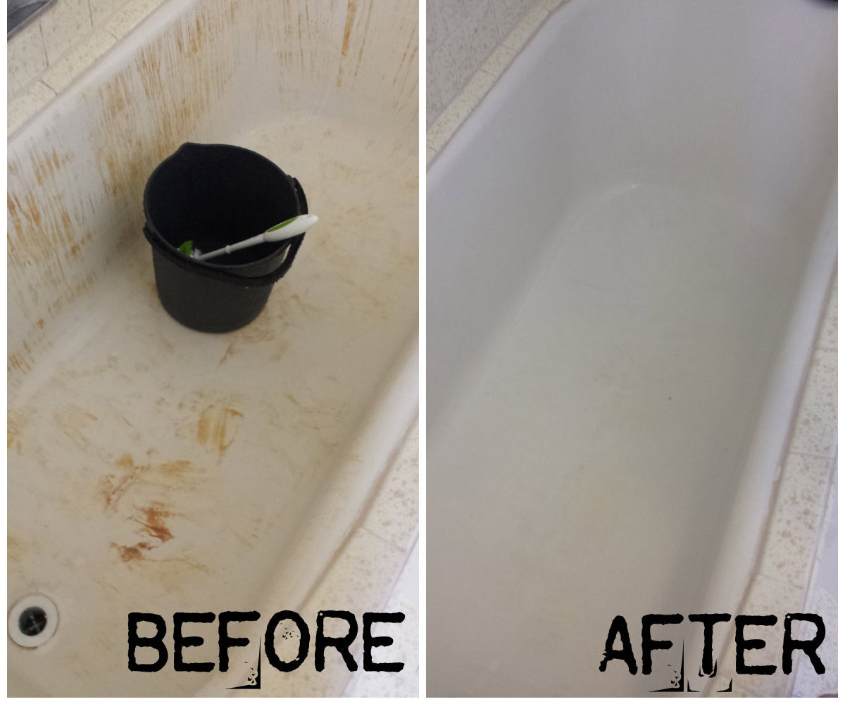 How to turn your bleach-stained-red bathtub white again