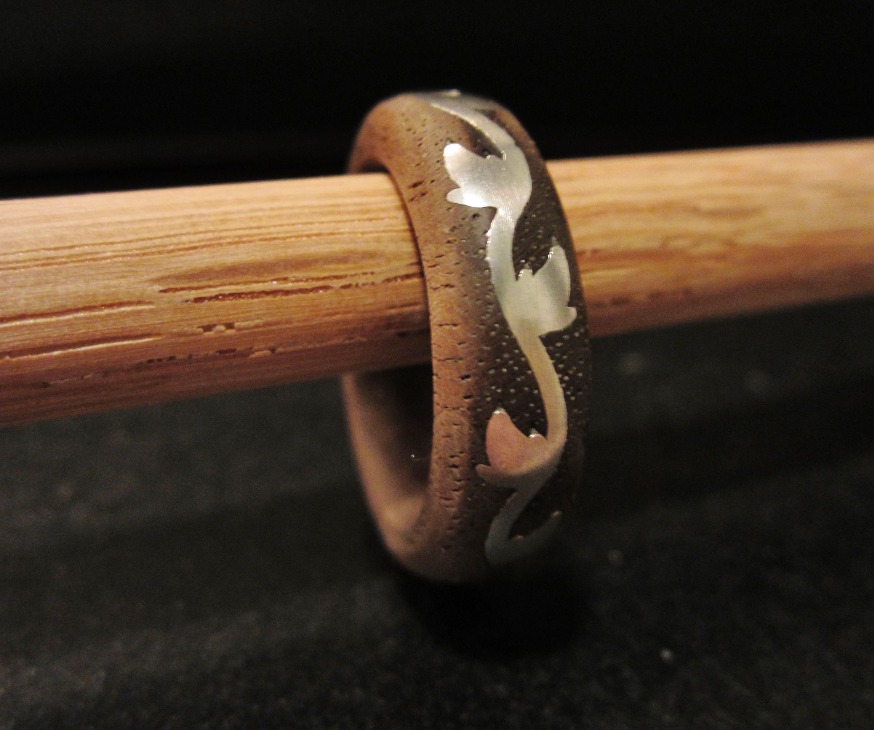 Cast Metal Inlay into a Wooden ring