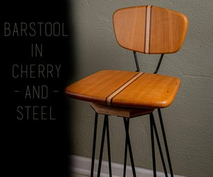 Barstool in Cherry and Steel