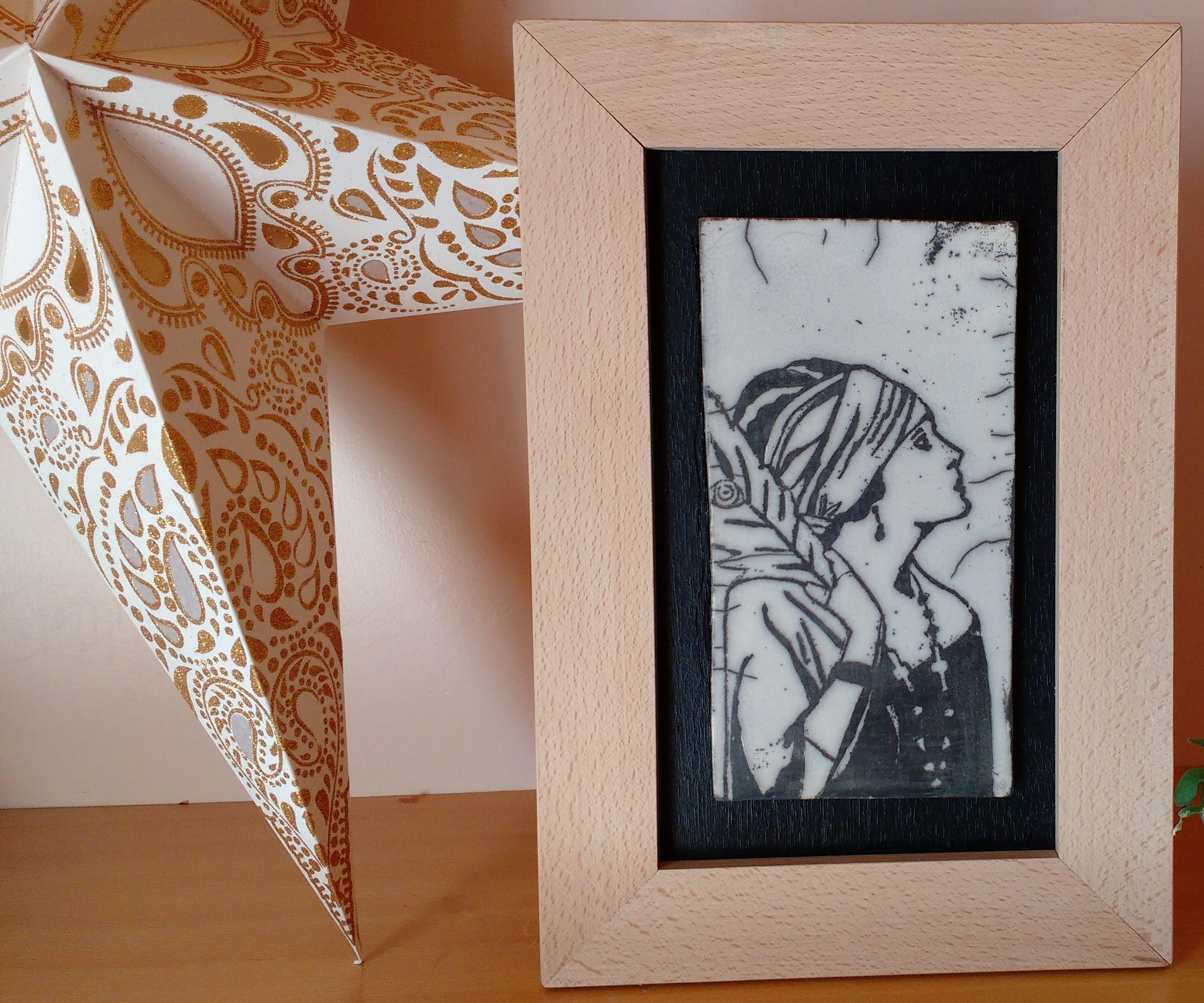 Ceramic Raku Drawing in a Wooden Frame
