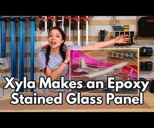 激光切割和环氧树脂镶嵌彩色玻璃