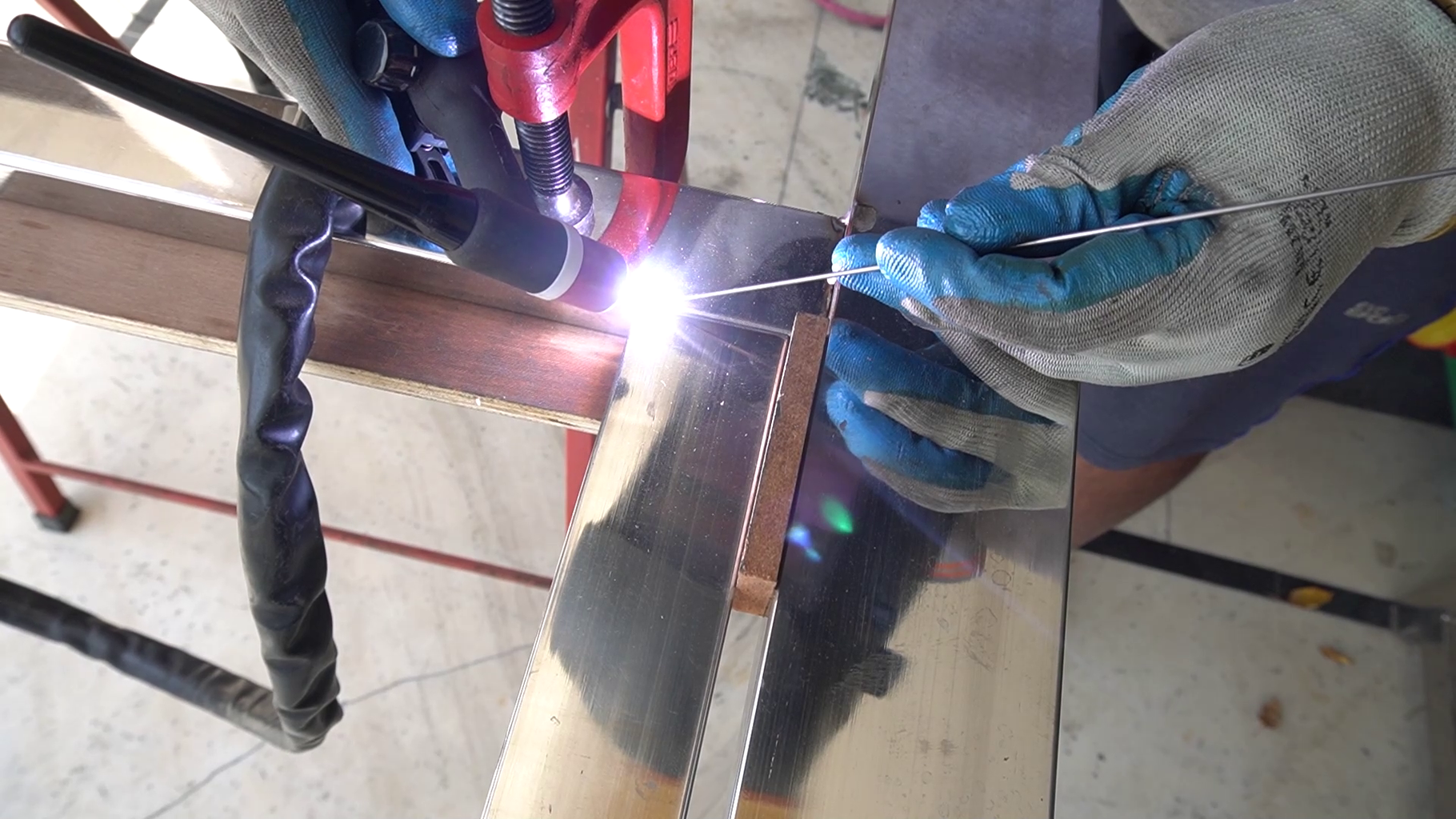 Tack Welding the Main Frame