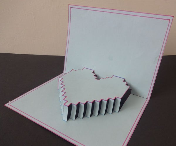 5-minute Pop Up Pixelelated Heart Card
