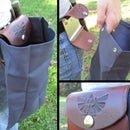 Zelda Inspired Foldable Leather and Canvas Belt Pouch