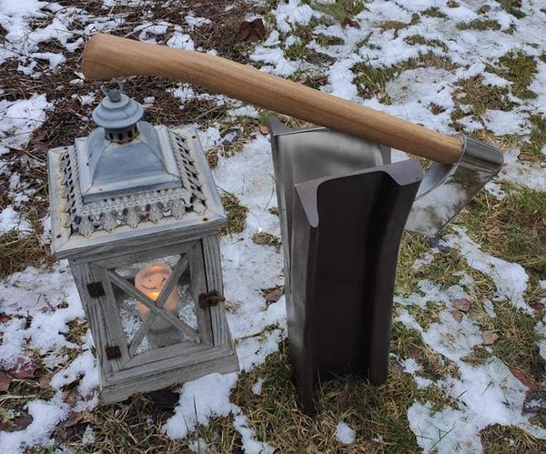 Railroad Rail Lantern / Sign Stand Split With Axe.
