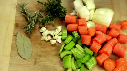 To Start Off We Want to Prep the Veg That Will Be Used to Add Flavor to the Lamb Shanks As They Braise.