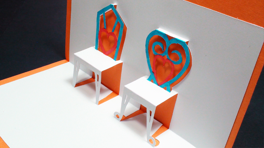 How to make a Pop Up Chairs Card For Your Valentine Kirigami 3D Greetings!