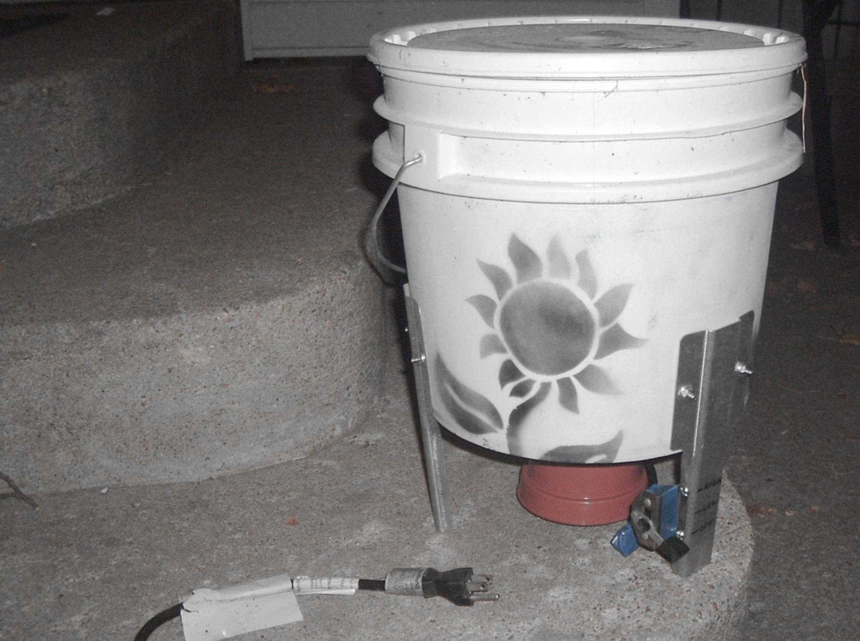 Small electric wildflower seed bucket thresher